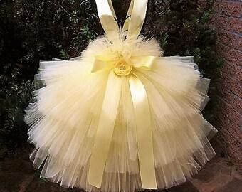 PALE YELLOW RUFFLES - Tutu Dress - Tiered Tutu - Yellow Tutu Dress - Flower Girl Gown - Baptism Dress - Pageant Girl Dress - First Birthday-