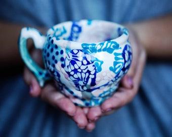 Unusual mug Pottery mug Coffee Mug Pink and Turquoise Tea cup Gift for her coffee cup Sisters gift Ceramic cup handmade Every day mug