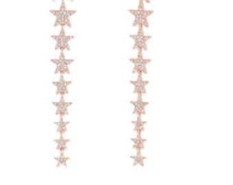 14kt rose gold diamond star earrings