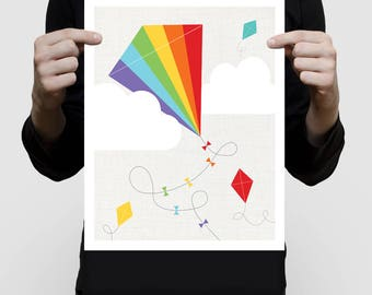 rainbow kite art print - colourful kids room decor, kids playroom artwork, flying kites for baby girl or boy, fly a kite, childrens decor