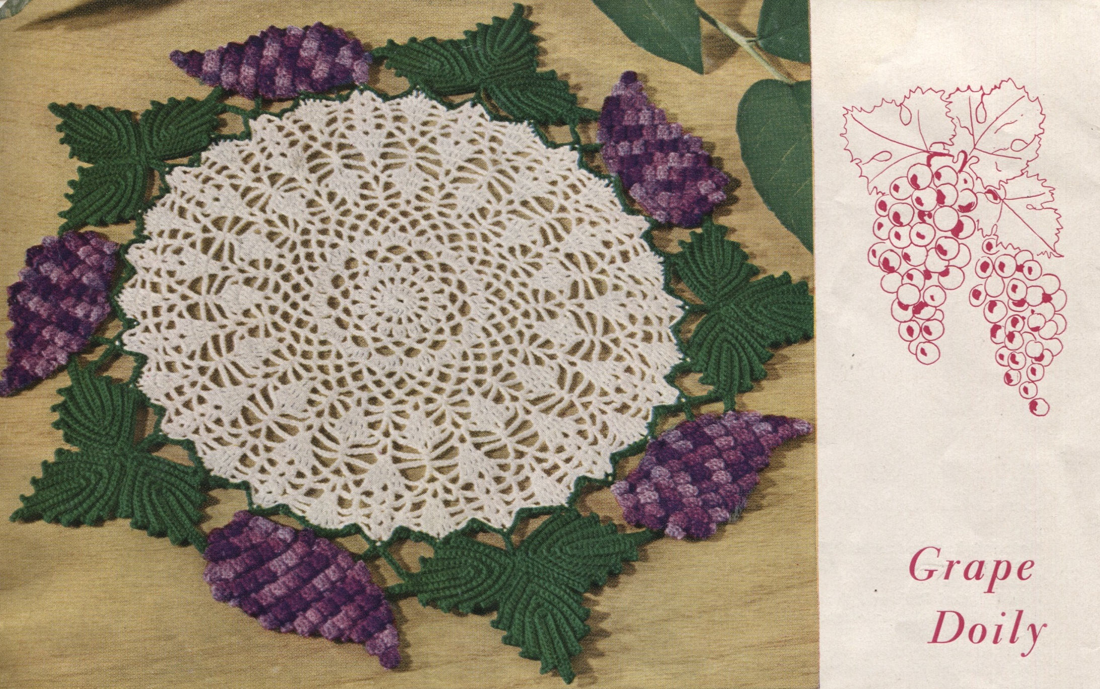 Grape Doily Crochet Pattern and Grape Bottle Cap Hot Plate Mat ...