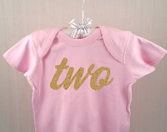 "Pink Toddler Lap Tee - Gold ""Two"" script - Birthday T-Shirt"