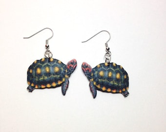 Handcrafted Plastic Red Footed Tortoise Earrings Gifts for Her tort18a