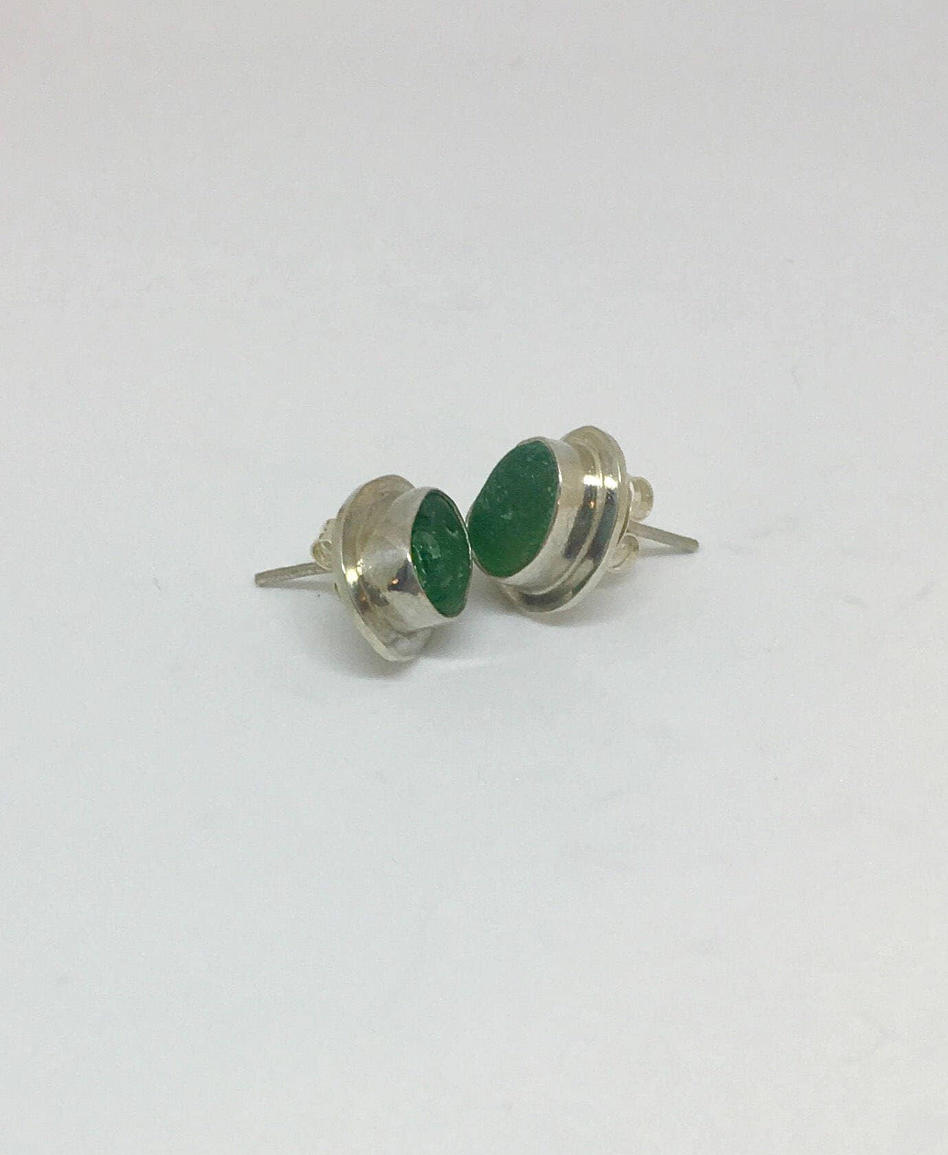 earrings in sterling green envious emerald cushion cut stud cz silver