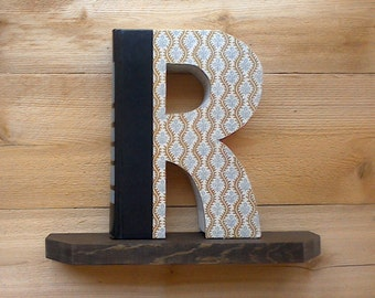 BOOK LETTER (R),#303...Ready Made Letter, Book Art, Book Cut Letter, Initial Book, Letter Cut from Book, Wedding Gift, Gift For Boss.