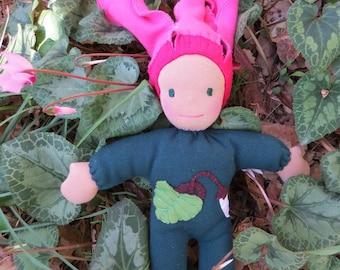 Waldorf Doll - Cyclamen Flower Child 12 inch Cuddle  Doll - Ready to Ship