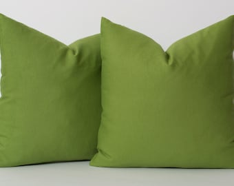 Solid Green Pillow Cover - All Sizes Decorative Pillows For Couch Housewares Solid Green Linen Eurosham Accent Pillow Contemporary Pillow