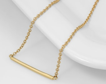 Solid 18k Gold Bar Necklace