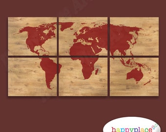 Watercolour world map poster large colourful world map red silhouette world map print with timber style background 6 panels with the wood gumiabroncs Gallery