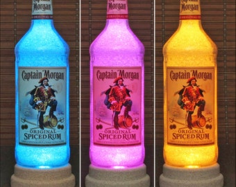 Captain Morgan Spiced Rum Color Changing RGB LED Remote Controlled Bottle Lamp Bar Light