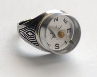 Large Compass Ring, Steampunk Jewelry, Silver Promise Ring, Working Silver Compass Ring, Industrial Gadget Geekery Men's Ring Art Deco SRAJD