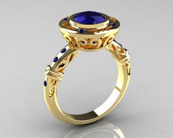 Modern Antique 10K Yellow Gold 1.0 Carat Blue Sapphire Designer Engagement Ring RR131-10KYGBSS