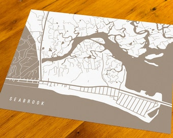 Seabrook, NH - Map Art Print  - Your Choice of Size & Color!