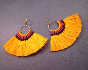 Cotton Tassel Earrings, Orange Fan Fringe Earrings with Rainbow Embroidery, Gold Dangle Earrings, FREE Shipping U.S.