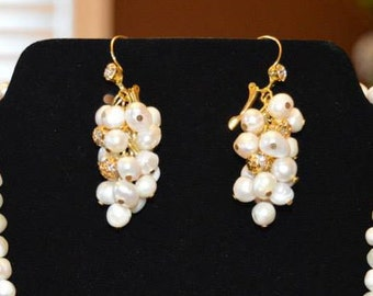 Fresh water pearl grape earrings