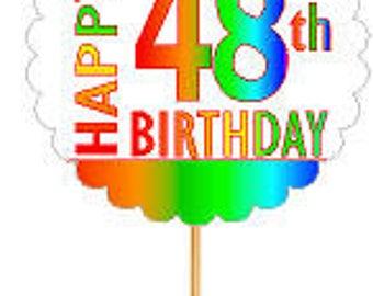 Happy 48th Birthday Rainbow Cupcake Decoration Topper Picks -12pk