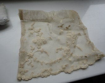 small piece embroidery, vintage lace