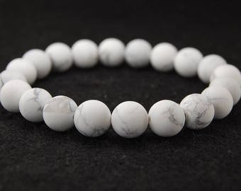 White Howlite Bracelet,8mm Natural White Stone Bracelet,Boho White Gemstone Bracelet, Man, Woman, White and Grey Elastic Bracelet,Gift