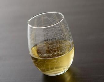 Baltimore Maps Stemless Wine Glass