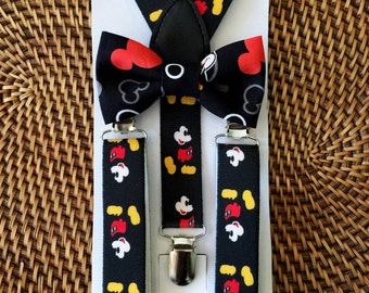 Mickey Mouse Bow Tie & Suspenders- Mickey Mouse Inspired, 6mo to 5 yr, Little Boy Mickey Mouse Suspenders, Cake Smash, Mickey Mouse Inspired
