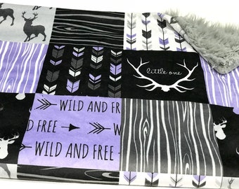 Purple and Black Deer Baby Girl Blanket. Baby MINKY Blanket, Grey Baby Bedding. Faux Fur Baby Blanket, Ready to Ship Baby Girl Blanket
