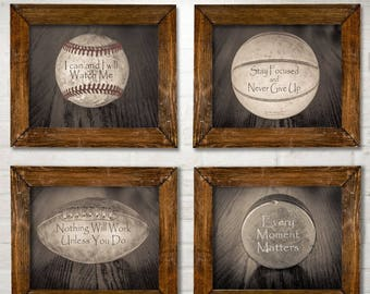 Inspirational Sports Quotes Prints - Set of Four Photos (8x10) Unframed - Great Gift for Boy's Room Decor