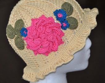 Panama Hat - Crochet - Little Girl -  Yellow Summer Beanie - Young Girl Accessory - Size 3 to 6 Years - Beach Wear - Handmade Cap