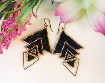 Black earrings,Statement Earrings, Geometric jewelry, Arrow earrings, Gift for her,Hypoallergenic,Seed bead earrings, Summer jewelry, Gold