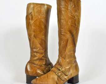 60s Honey Mod Buckle Hush Puppies Leather Boots Size 9