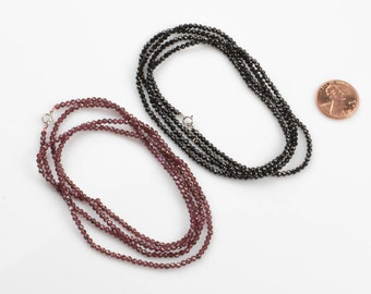 Larry- Long Necklace- Perfect for Layering-Sterling Silver- 32 inches- Spinel and Garnet- Very Fine and sparkly
