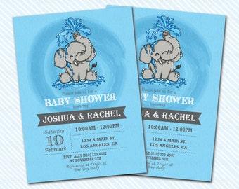 Digital Printable Elephant baby Shower Invitation. Elephant invitation