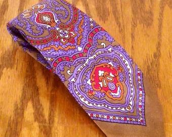 "vtg 50s Howard Colorful Paisley Rockabilly Silk Skinny Tie Necktie 55"" 2.75"""