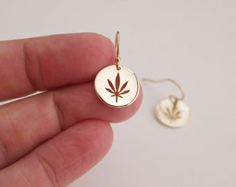Gold cannabis  earrings  - cutout  marijuana disc earrings - circle pot earrings - dangle  leaf earrings - weed earrings - 420 earrings