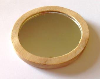 Pocket Mirror Organic Maple Wood Travel Mirror Round Hand Mirror