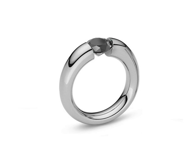 Black Diamond Tension Set Ring Tapered Stainless Steel Mounting