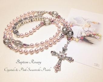 Personalized Baptism Rosary. Swarovski Pearls. Pink and White Rosary. Catholic Rosary. Catholic Gift. Christening Rosary. #R122