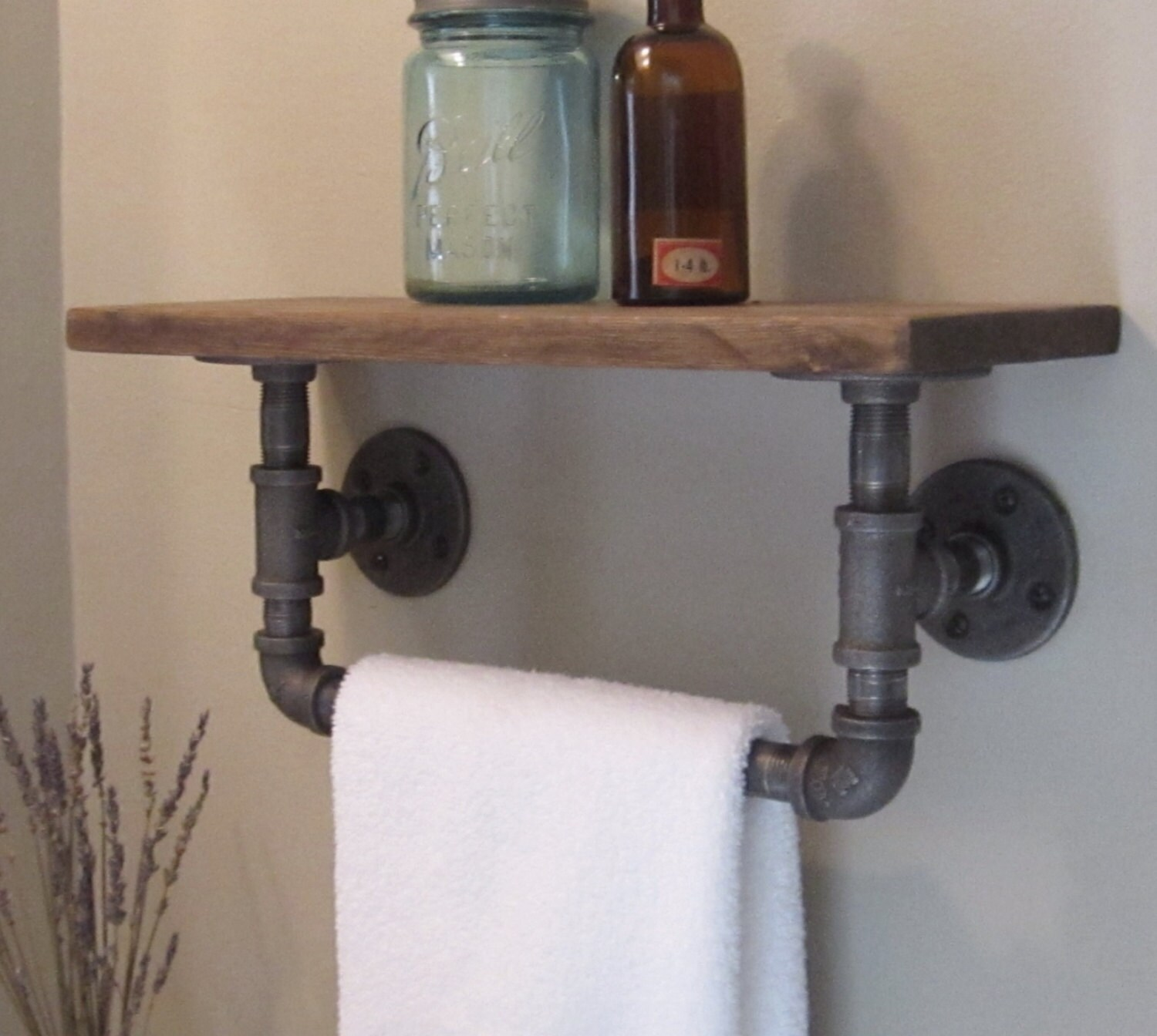 Industrial Pipe Hand Towel Rack With Wood Shelf