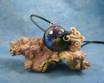Cosmic Nautilus Necklace, Polymer Clay Space Jewelry