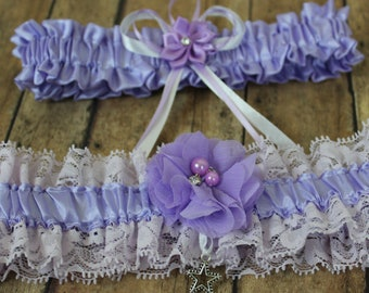 Purple Prom or Wedding Garter Set With Chiffon Flower and Star Charm, Lace and Satin Garter Set