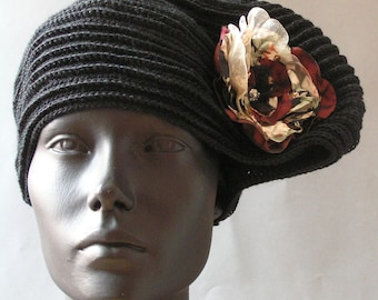 Ship's Ahoy Black Pirate Crochet Hat with Two Organza Flower Pins...
