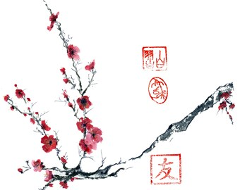 Chinese Ink Sumi painting Plum Blossoms original art