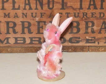 Vintage  Rare Pink Chenille Standing Easter Bunny Rabbit holding Carrot Japan
