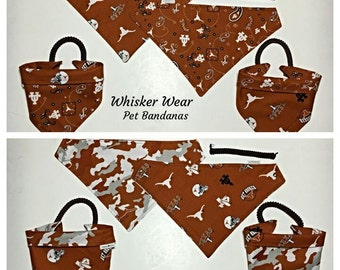 texas football fabric, reversible custom pet bandana, sizes XS-XL, dog scarf, dog bandana, pet scarf, college, football, pet clothing
