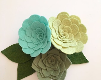 SUCCULENTS // Loose Felt Flowers // Unattached Felt Flowers // DIY Flowers // Flower Embellishments // Set of 3 // You Pick Custom Colors