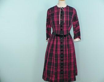 1950s L'Aiglon Plaid Dress / 50s Teacher Dress / 50's Plaid Dress