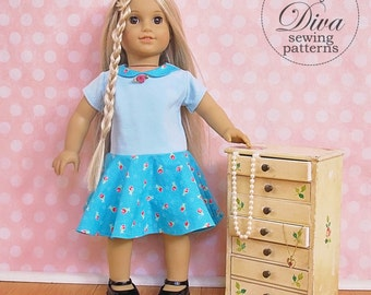 18 inch doll patterns - Dress, Skirt and Top Patterns to fit American Girl - Doll Pattern Bundle - PDF