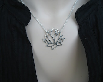 Large Sterling Silver Lotus Flower Pendant Necklace