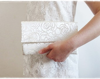 Clearance Sale Large envelope clutch white satin clutch wedding bridal clutch white rose evening purse