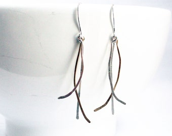 Branch earrings - twig earrings - metal branches - silver and gold - hammered earrings - hammered wire - rustic earrings - wire earrings