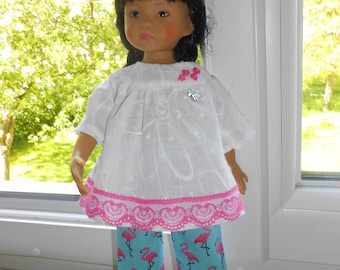 """Little darlings Dianna Effner doll clothes, 33cm 14 """"/ Blouse/tunic pants clamp, Flemish Roses"""""""